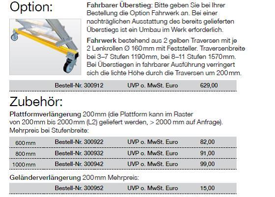 45° Günzburger Aluminium-Überstieg Stationär Oder Fahrbar Stufenbreite 600 Mm